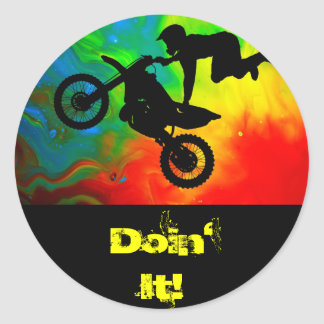 Motocrossing in a Solar Flare Up Classic Round Sticker