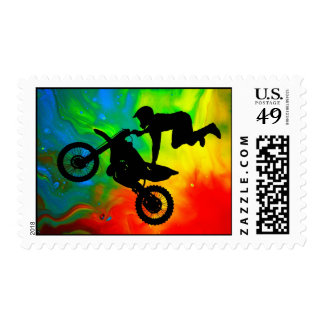 Motocrossing in a Solar Flare Up Postage