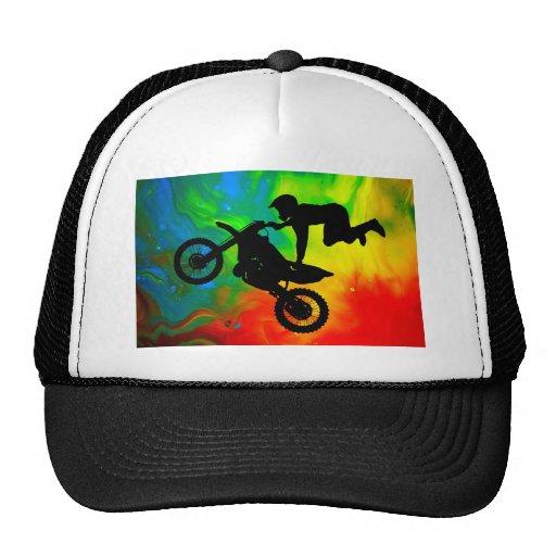 Motocrossing in a Solar Flare Up Trucker Hat