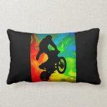 Motocrossing in a Solar Meltdown Throw Pillow