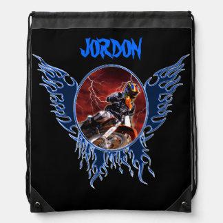 Motocrossrider and blue flames drawstring bag