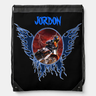 Motocrossrider and blue flames drawstring backpack