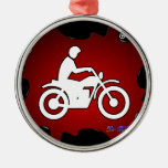 MOTOCYCLE RED BACKGROUND PRODUCTS CHRISTMAS TREE ORNAMENTS