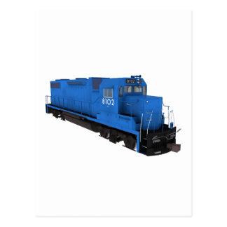 Motor azul del tren: postal