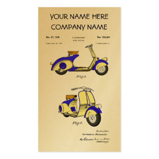 Motor Bicycle Patent Circa 1949- Blue Business Card