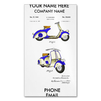 Motor Bicycle Patent Circa 1949- Blue Business Card Magnet