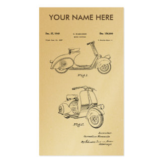 Motor Bicycle Patent Circa 1949- Line Drawing Business Card