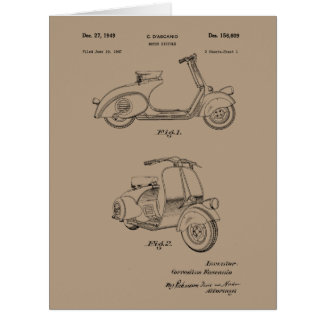 Motor Bicycle Patent Circa 1949- Line Drawing Card