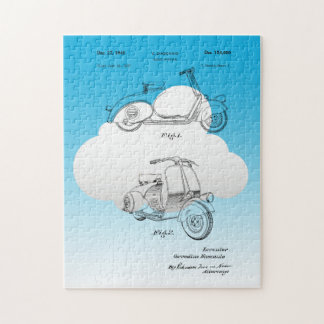Motor Bicycle Patent Circa 1949- Line Drawing Jigsaw Puzzle