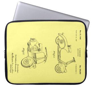 Motor Bicycle Patent Circa 1949- Line Drawing Laptop Sleeve