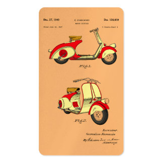 Motor Bicycle Patent Circa 1949- Red Business Card