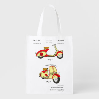 Motor Bicycle Patent Circa 1949- Red Grocery Bag