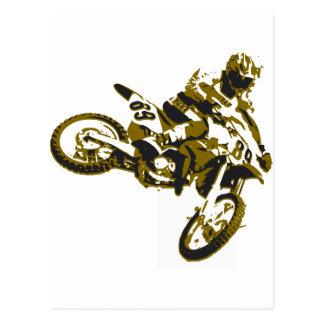 motor bike cross-country race postcard