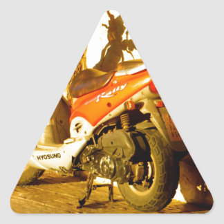 Motor Bike in Evening Sun Triangle Sticker