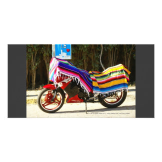 Motor Bike with Mexican Blanket Customized Photo Card