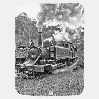 Motor blanco y negro del tren del vapor del mantita para bebé