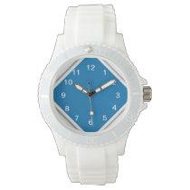 Motor Blue on White Wristwatches