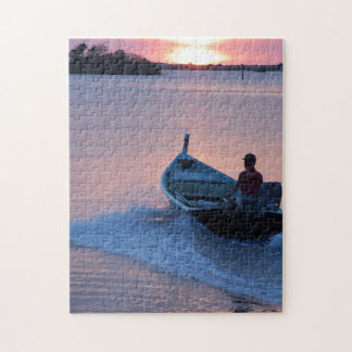 Motor boat at sunrise, puzzle