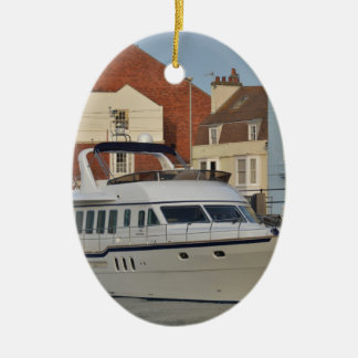 Motor Boat In Weymouth Ceramic Ornament
