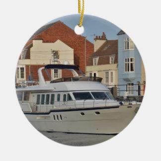Motor Boat In Weymouth Ceramic Ornament