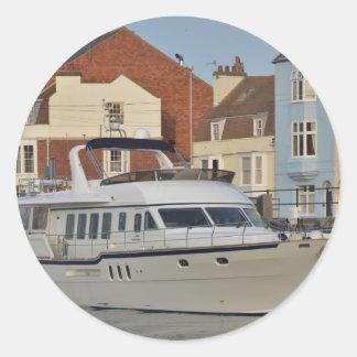 Motor Boat In Weymouth Classic Round Sticker