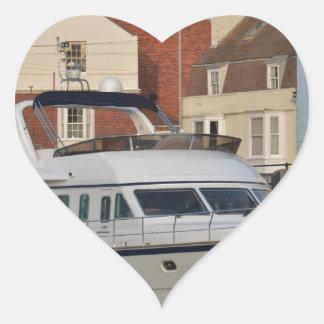 Motor Boat In Weymouth Heart Sticker