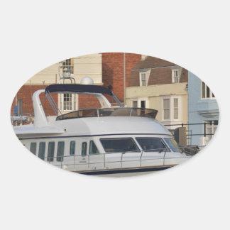 Motor Boat In Weymouth Oval Sticker