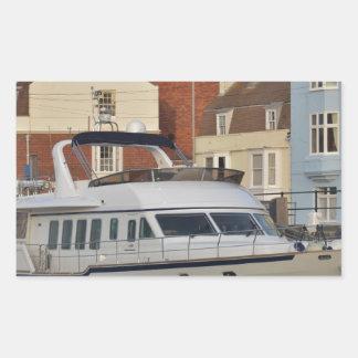 Motor Boat In Weymouth Rectangular Sticker