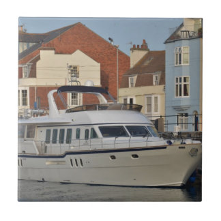 Motor Boat In Weymouth Small Square Tile