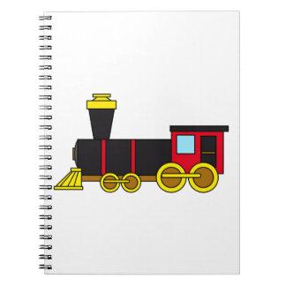 Motor clásico multicolor del tren de la cuaderno