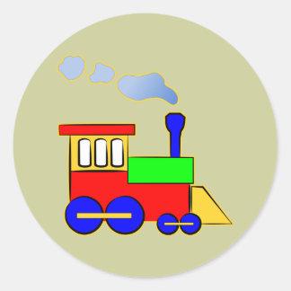 Motor colorido lindo del tren de los niños pegatina redonda
