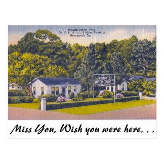 Motor Court, Brunswick, Georgia Postcard