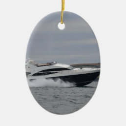 Motor cruiser at speed. ceramic ornament