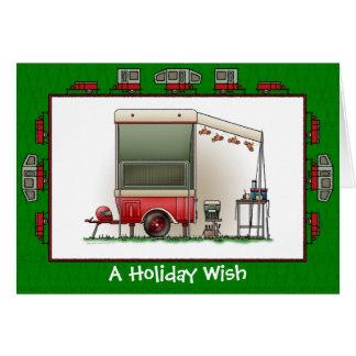 Motor Cycle Camper Trailer Holiday Wish Card