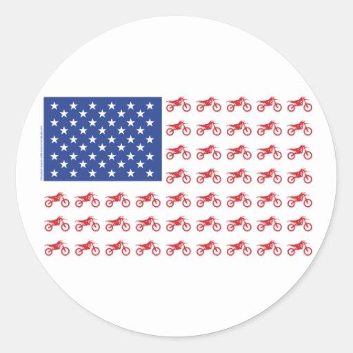 Motor-Cycle-Flag-Moto-Cross Round Sticker