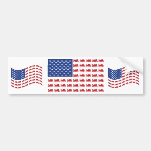 Motor-Cycle-Flag-Sport Bumper Sticker