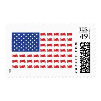 Motor-Cycle-Flag-Sport Postage Stamp