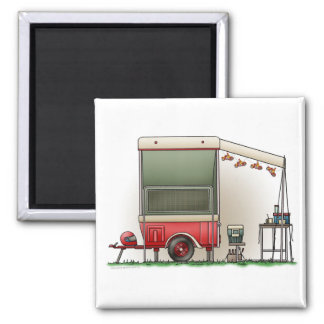 Motor Cycle Trailer Camper 2 Inch Square Magnet