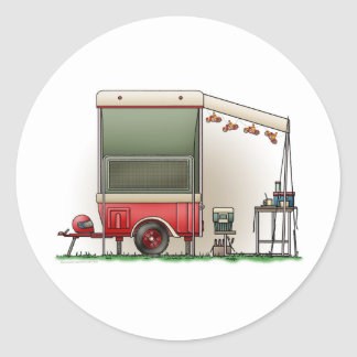 Motor Cycle Trailer Camper Classic Round Sticker