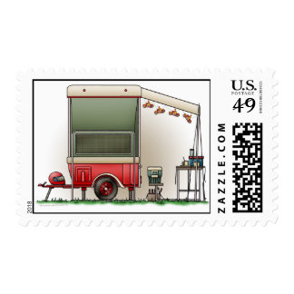 Motor Cycle Trailer Camper Postage Stamp
