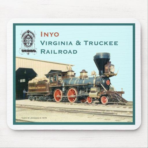 Motor de Inyo del ferrocarril de V&T Tapete De Ratones