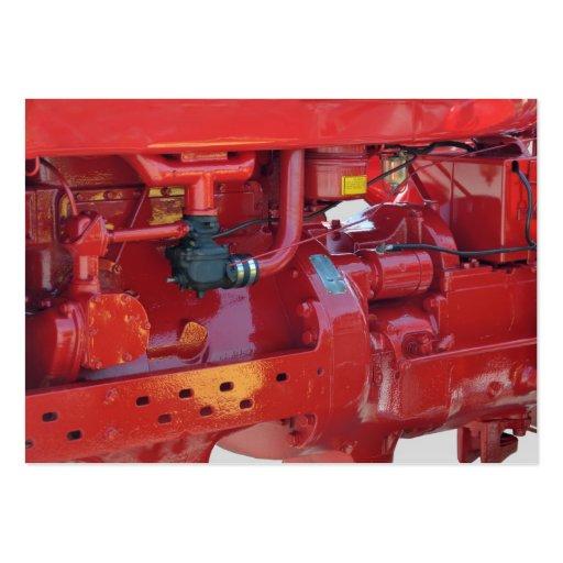Motor de tractor rojo tarjetas de visita grandes