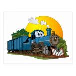 Motor de vapor azul del dibujo animado postal