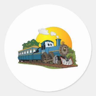 Motor de vapor azul del pasajero del dibujo pegatina redonda