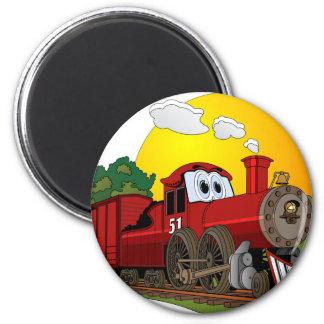 Motor de vapor rojo del dibujo animado imán redondo 5 cm