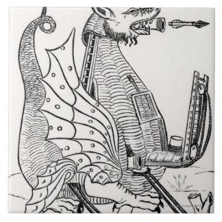 Motor del cerco en forma de un dragón azulejo cuadrado grande