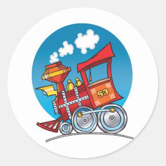 Motor del tren del dibujo animado pegatina redonda