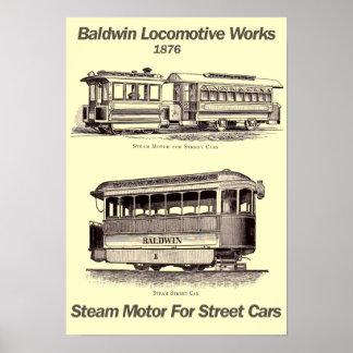 Motor del vapor de Baldwin para el poster 1876 de
