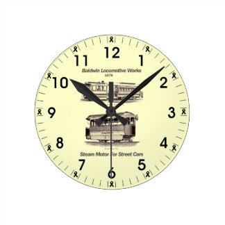Motor del vapor de Baldwin para los coches 1876 de Reloj Redondo Mediano