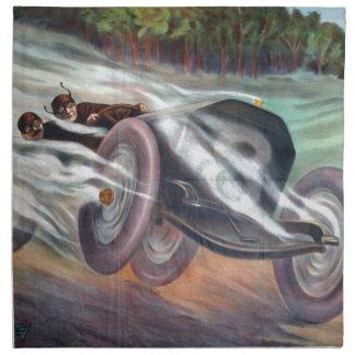 Motor del vintage que compite con las ilustracione servilletas imprimidas